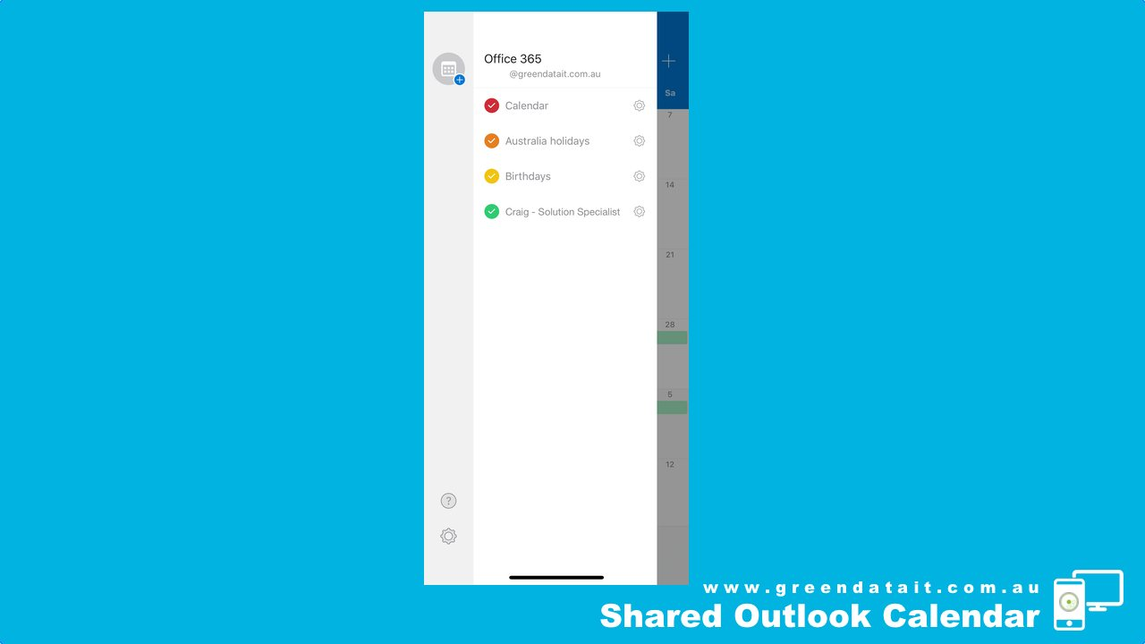 Making sure Shared Calendar is added to your iPhone Outlook App