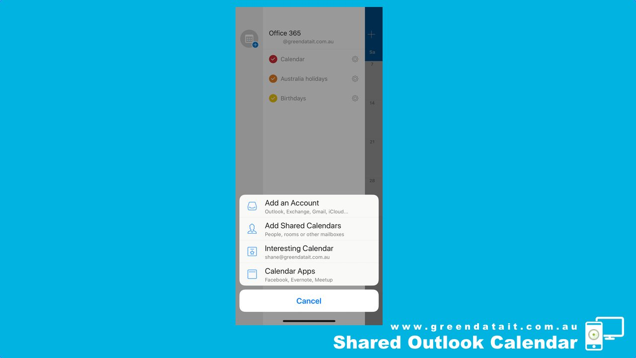 You have four choices when adding Outlook Shared Calendars on iPhone